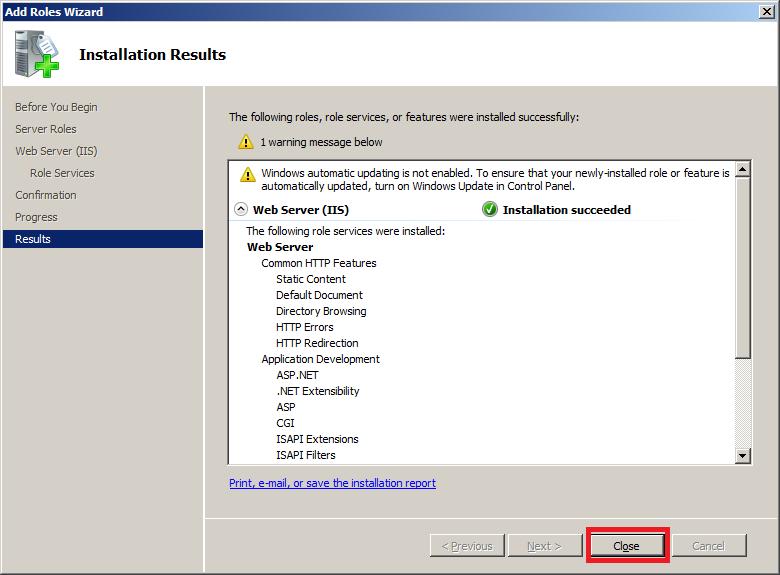 Install IIS7 on Windows Server 2008